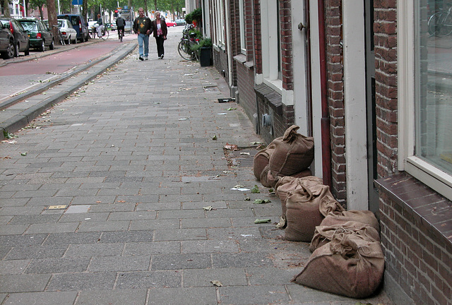 After some flooding, residents started using sand bags