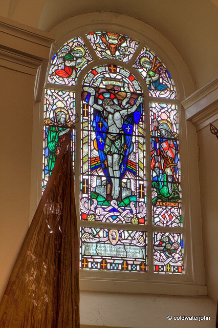 Stained glass window with the only bagpipe-playing angel in Christendom! (top right)