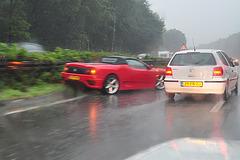 Crashed Ferrari on the German Autobahn