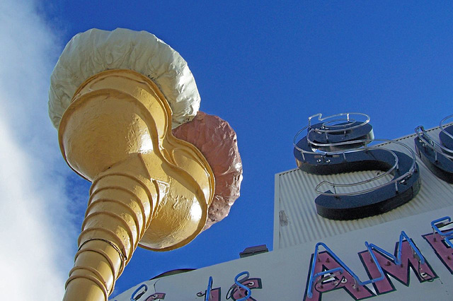 Looking up at the Snelgrove giant ice-cream cone