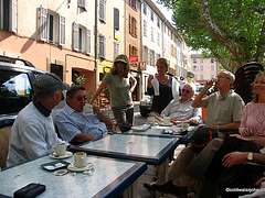 Street Cafe in Salernes, Provence, for a mid-morning coffee