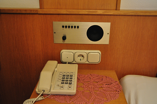 Holiday 2009 – Telephone and in-built radio in a hotel room in Austria