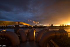 Abendstimmung im Industriepark Kalle Albert