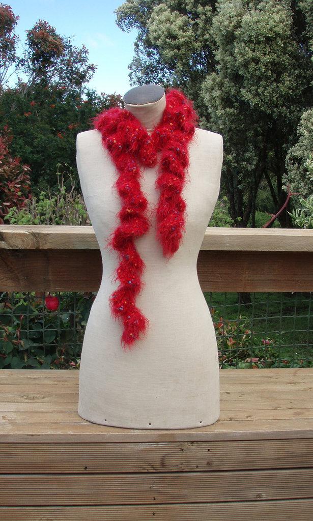 red ruffle scarf