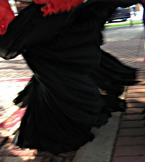 Skirt just flying..