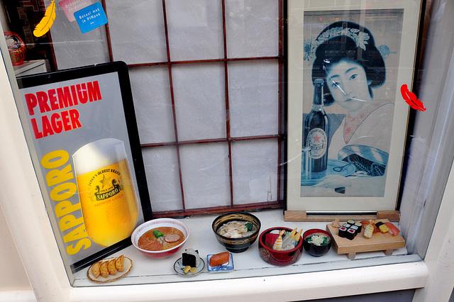 Window of Japanese restaurant Morita-Ya