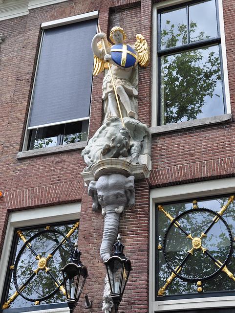 Saint George, a dragon and an elephant