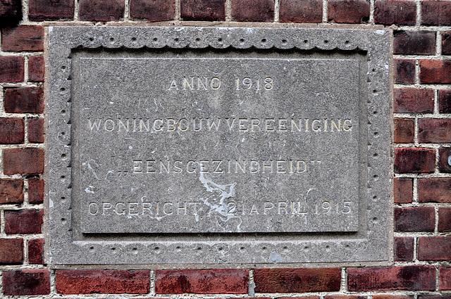 "Memorial gable stone of the Social Housing Association ""Concord"""