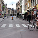 Crossing the Breestraat (Broad Street) in Leiden