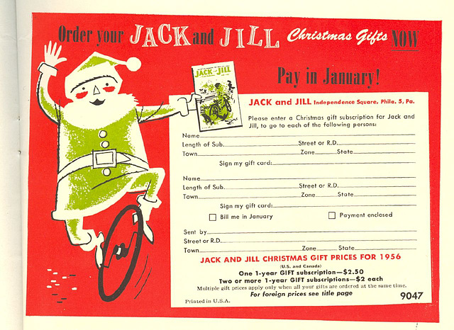 1956 Jack & Jill subscription card