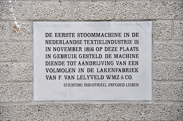 Memorial stone – The first steam engine in the Dutch textile industry was used here in November 1816