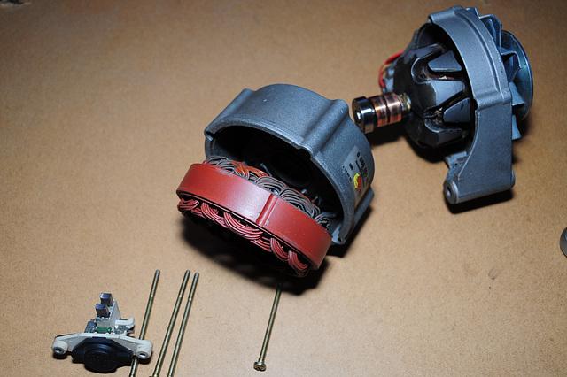 Car dynamo taken apart