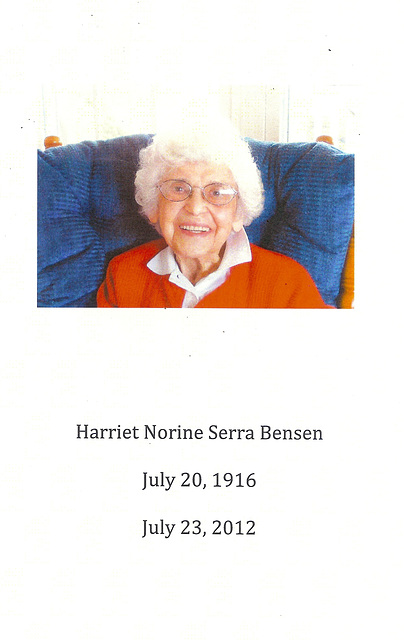 Harriet, 1916 - 2012