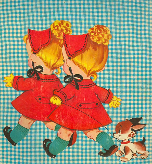 Cindy and Mindy (back of paperdoll folder)