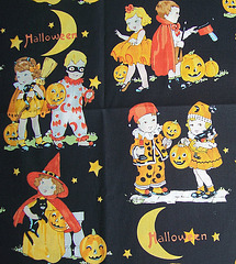 Retro-themed Halloween fabric