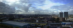 View over Glasgow from Speirs Wharf westwards