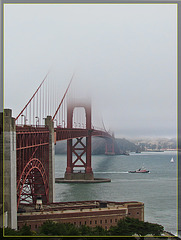 Golden Gate Bridge with Tugboat