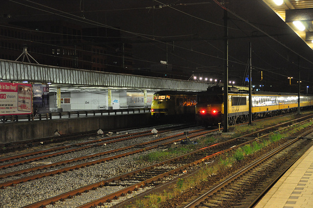 Trains at the former post exchange station at The Hague