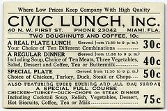 Civic Lunch, Miami, Florida, 1930s