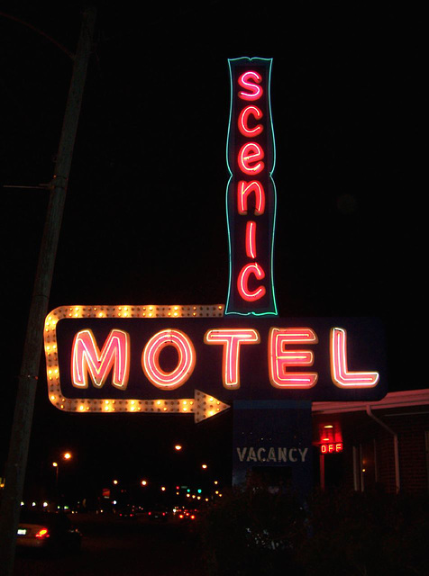 Scenic Motel after dark