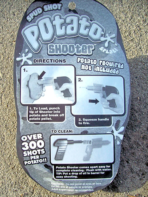 Back of potato shooter package: potato required: not included