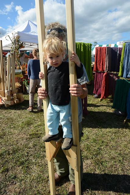 18-month-old on stilts
