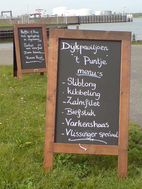 Dykpaviljoen 't Puntje menu