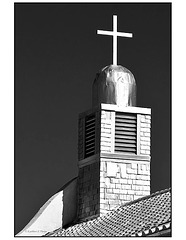 San Ysidro Church black and white belfry