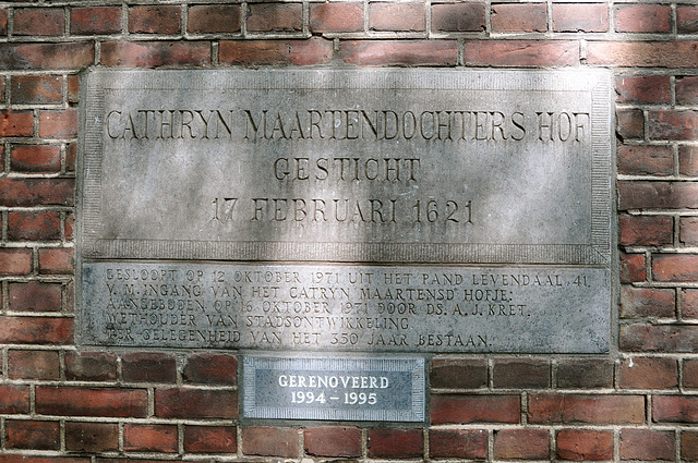 Old gable stone of the Cathryn Maartendochters Hof (Catherine Martinsdaughter Almshouse) founded February 17, 1621