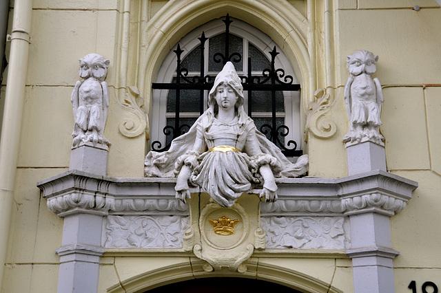 Above-the-door ornament on the Münsterplatz in Aachen, Germany