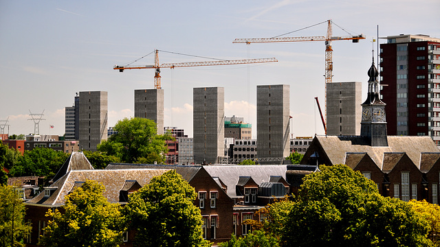 View of the Gate Building of Leiden University Medical Centre and new office buildings