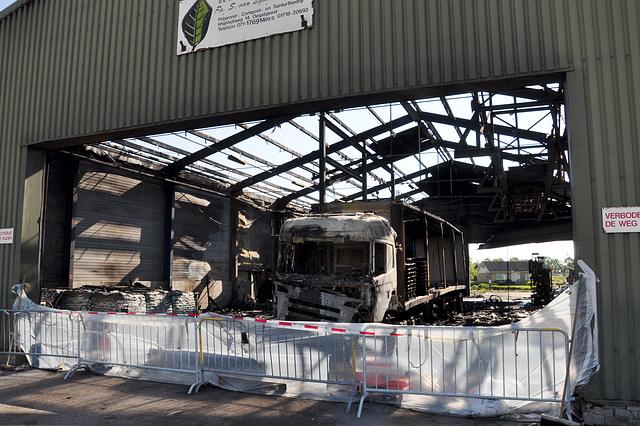 Burnt down fertilizer company