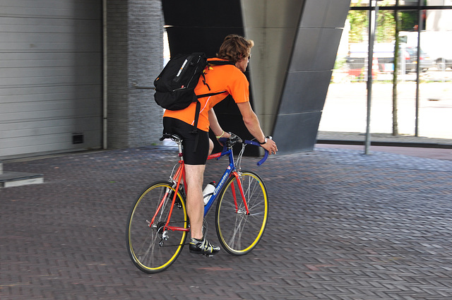 Colourful biker