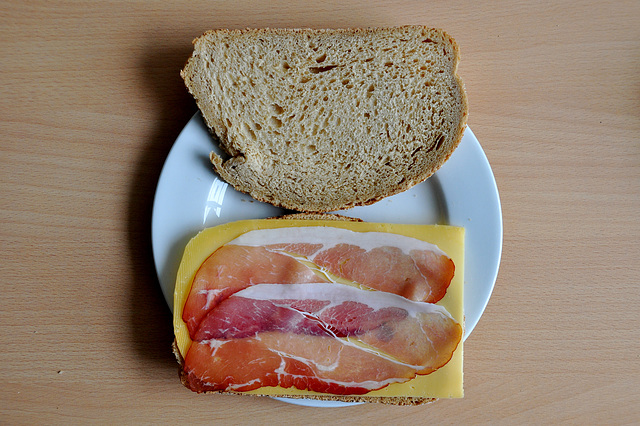 My lunch: Ham and Cheese Sandwich on grey bread