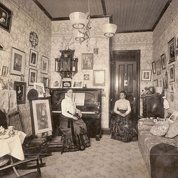 Vintage Interior With Two Women, Possibly Twins
