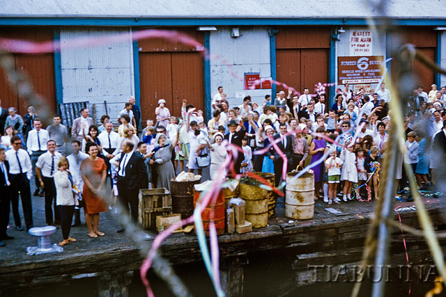 "Streamers on departure of ""Nella Dan"" from Melbourne, Dec 1965"