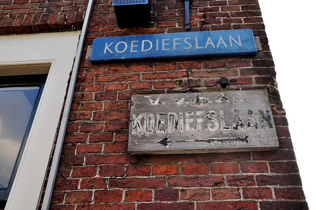 Two signs of the Koediefslaan (Cow Thief Lane)
