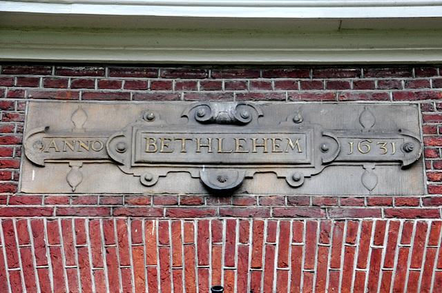 Gable stone in the Bethlehem almshouse