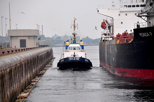 The tug Sirius retreating after towing the Monica into the sea lock at IJmuiden