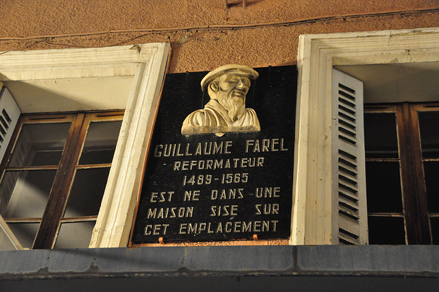 Holiday 2009 – Plaque on the birthplace of William Farel (1489–1565)