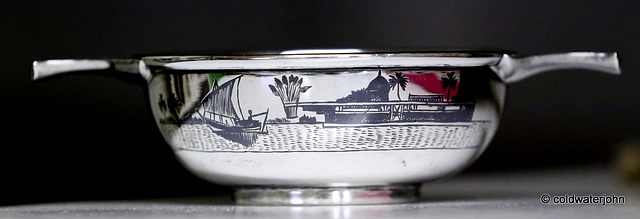 Sterling Silver Quaich decorated in the Niello style in Baghdad for presentation to the Chieftain of the Caledonian Society of Iraq, in 1932.