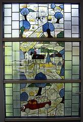 Buntglas der Molkerei Recke von 1931   heute eine Türfüllung