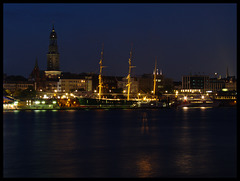 Hamburg, skyline in the late evening