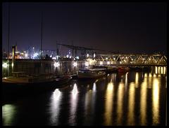 Hamburg, Elbe, during night