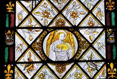 Ange musicien - Verrière au jaune d'argent (XVe s.) de la Chapelle du Saint-Rosaire - Cathédrale d'Evreux