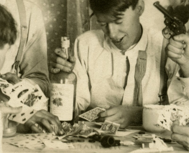 We Had a Big Old Time--Playing Cards and Drinking Wine (Detail)