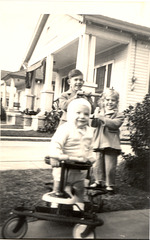 Taylor-Tot Terror on Plum Street, New Orleans, about 1948 with cousins, Guy and Donna.