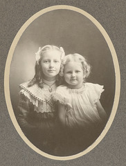 My paternal grandmother, Anna Olsen (L), and her sister, Margaret, about 1898