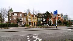 Colourful houses on the Rijnsburgerweg in Leiden