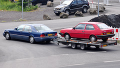 Volvo transported by a Mercedes-Benz S class